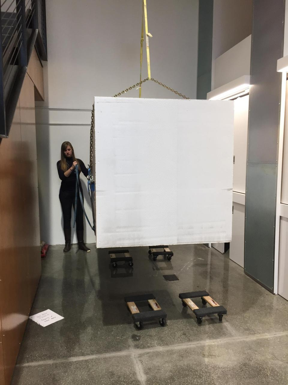 Loading a 4ft x 4ft x 8ft styrofoam block for the frogwire