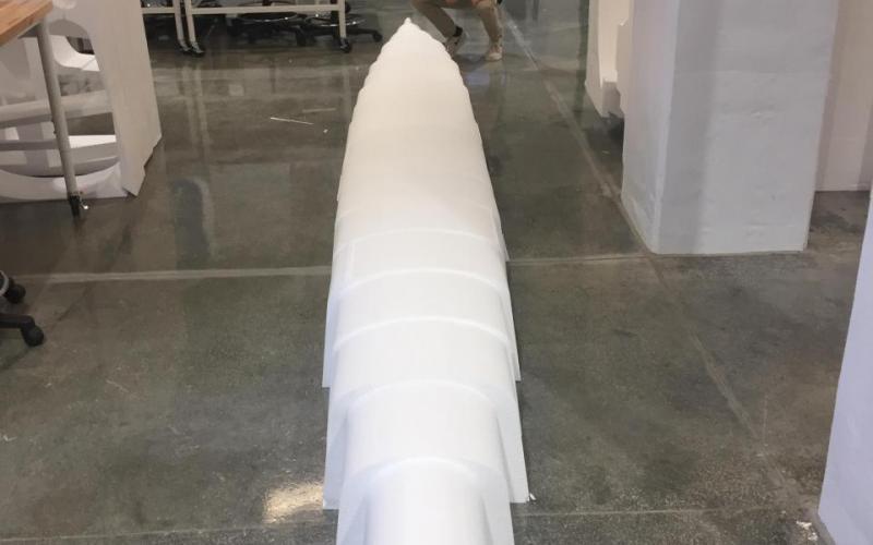 Styrofoam mold for concrete canoe